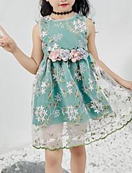 お買い得  -子供 女の子 かわいいスタイル / ストリートファッション フラワー 刺繍 ノースリーブ ポリエステル ドレス グリーン