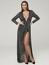povoljno -A-kroj Presvlačenje dekoltea Asimetričan kroj Til Formalna večer Haljina s Prednji izrez po TS Couture®
