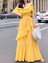 voordelige -dames knielange overhemdjurk wit geel s m