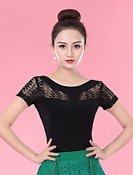 cheap -Ballroom Dance Tops Women's Performance Ice Silk Lace Short Sleeve Top