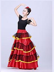 levne -Latinské tance Spodní část oděvu / Flamenco Dámské Výkon Matný satén Klín Přírodní Sukně