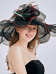 お買い得  -チュール / オーガンザ 帽子 とともに フラワー / トリム / ラッフル 1個 結婚式 / スポーツ かぶと