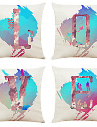 hesapli -4 yaratıcı aşk desen keten kare dekoratif atmak yastık kılıfları set kanepe yastık kapakları 18x18