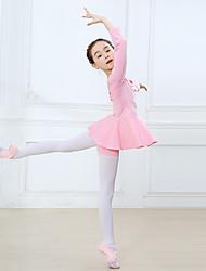 ราคาถูก -ชุดเต้นสำหรับเด็ก / ชุดเต้นบัลเล่ย์ Outfits เด็กผู้หญิง การฝึกอบรม / Performance ฝ้าย โบว์ / ข้อต่อ แขนยาว ธรรมชาติ ชุดเดรส / กางเกง
