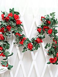 preiswerte -Künstliche Blumen 1 Ast Wandbefestigung Suspendiert Hochzeit Europäisch Rosen Wand-Blumen