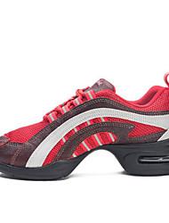 olcso -Női Hip Hop és utcai tánccipők Bőr Sportcipő Vastag sarok Dance Shoes Fekete / Piros