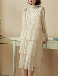 رخيصةأون -المرأة ميدي خط اللباس طاقم الرقبة البيج واحد الحجم