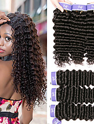 cheap -6 Bundles Malaysian Hair Deep Wave Unprocessed Human Hair 100% Remy Hair Weave Bundles Natural Color Hair Weaves / Hair Bulk Bundle Hair One Pack Solution 8-28 inch Natural Color Human Hair Weaves