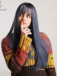 Χαμηλού Κόστους -Συνθετικές Περούκες Κατσαρά Ίσια / Φυσικό ευθεία Στυλ Μικρή έκρηξη Χωρίς κάλυμμα Περούκα Καφέ Μαύρο / καφέ Μαύρο / καπνό μπλε Μαύρο / Σκούρο πράσινο Συνθετικά μαλλιά 24 inch Γυναικεία
