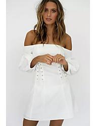 billige -kvinner over kneet slank en linje kjole av skulder hvit s m l