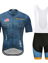 お買い得  -MUBODO 男性用 半袖 ビブショーツ付きサイクリングジャージー ブーレ / ブラック バイク スーツウェア 高通気性 速乾性 反射性ストリップ スポーツ メッシュ マウンテンサイクリング ロードバイク 衣類 / 伸縮性あり