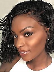 Недорогие -Натуральные волосы Лента спереди Парик Стрижка боб Короткий Боб Боковая часть стиль Бразильские волосы Волнистый Черный Парик 130% Плотность волос / Природные волосы / 100% ручная работа