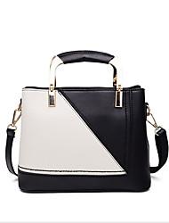 お買い得  -女性用 バッグ PU トート ジッパー カラーブロック グリーン / ブラック / ピンク