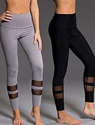 お買い得  -女性用 ヨガパンツ ブラック グレー スポーツ 純色 メッシュ サイクリングタイツ レギンス ダンス ランニング フィットネス アクティブウェア 高通気性 吸汗性 バットリフト おなかコントロール 伸縮性あり タイト