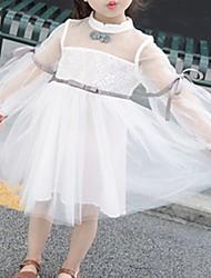 hesapli -Bebek Genç Kız Temel Solid Uzun Kollu Pamuklu Elbise Yonca