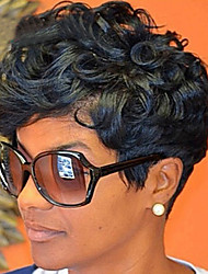 abordables -Pelucas sintéticas / Flequillo Rizado Estilo Parte libre Sin Tapa Peluca Negro Negro y Oro Pelo sintético 12 pulgada Mujer Mujer / sintético / Para mujeres de color Negro Peluca Corta Peluca natural