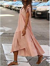 baratos -mulheres plus size midi vestido de gola solta v pescoço blushing rosa fúcsia amarelo s m l xl
