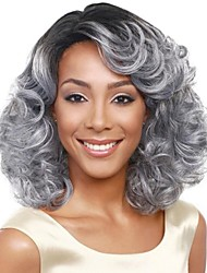 cheap -chignons / Bangs Curly / Loose Curl Style Side Part Capless Wig Dark Gray Grey Synthetic Hair 18 inch Women's Fashionable Design / Classic / Women Dark Gray Wig Medium Length Natural Wigs