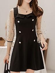 Недорогие -женское платье выше линии колена с квадратным вырезом черный с м л xl