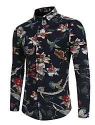 Недорогие -Муж. С принтом Рубашка Цветочный принт Черный L
