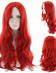 cheap -Synthetic Wig Curly Style Middle Part Capless Wig Red Red Synthetic Hair 22 inch Women's Party Red Wig Long Natural Wigs