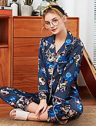 billige -Dame Skjortekrage Dress Pyjamas - Geometrisk