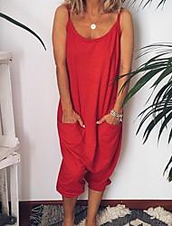 baratos -Mulheres Preto Vermelho Rosa Macacão, Sólido M L XL