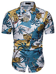 baratos -Homens Camisa Social Estampado, Floral Azul XL