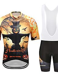お買い得  -MUBODO 男性用 半袖 ビブショーツ付きサイクリングジャージー ブラック / イエロー バイク スーツウェア 高通気性 速乾性 反射性ストリップ スポーツ メッシュ マウンテンサイクリング ロードバイク 衣類 / 伸縮性あり