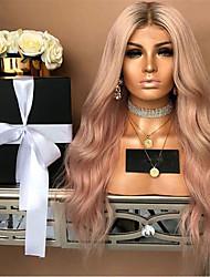 olcso -Szintetikus parókák Göndör Stílus Középső rész Sapka nélküli Paróka Pink Rózsaszín Szintetikus haj 22 hüvelyk Női Parti Pink Paróka Hosszú Természetes paróka