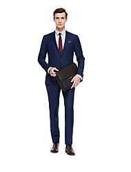 お買い得  -アクアマリン ソリッド スタンダードフィット ウール スーツ - ピークドラペル シングルブレスト 二つボタン
