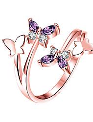 Недорогие -Жен. Белый Кольцо Кольцо на кончик пальца Открытое кольцо Платиновое покрытие Позолоченное розовым золотом Искусственный бриллиант Бабочка Стиль Простой европейский корейский Элегантный стиль