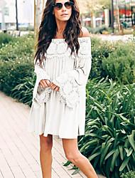 저렴한 -어깨보다 여성의 무릎 대형 튜닉 드레스 보라색 빨갛게 분홍색 흰색 스 밀리 xl