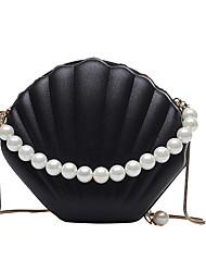 Χαμηλού Κόστους -Γυναικεία Τσάντες PU Σταυρωτή τσάντα Λεπτομέρεια με πέρλα / Αλυσίδα Συμπαγές Χρώμα Μαύρο / Ρουμπίνι / Ανθισμένο Ροζ