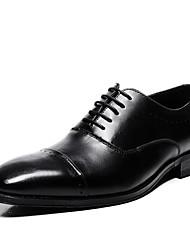 Недорогие -Муж. Комфортная обувь Кожа Весна Туфли на шнуровке Черный