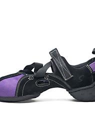 olcso -Női Jazz cipők Vászon Sportcipő Vastag sarok Dance Shoes Bíbor / Piros / Fekete / Kék