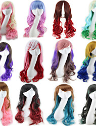 cheap -Synthetic Wig Curly Style Middle Part Capless Wig Red Pink Purple Black / Dark Green Synthetic Hair 22 inch Women's Party Red Wig Long Natural Wigs