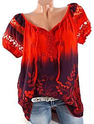 billige -T-skjorte Dame - Geometrisk, Flettet / Netting / Trykt mønster Grønn XXXL