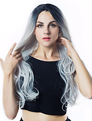 cheap -Synthetic Wig Curly Style Middle Part Capless Wig Gray Silver Synthetic Hair 22 inch Women's Women Gray Wig Long Natural Wigs