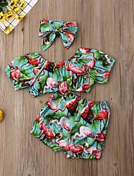お買い得  -幼児 女の子 活発的 / かわいいスタイル プリント プリント 半袖 コットン / ポリエステル 水着 グリーン