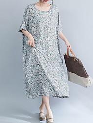 Недорогие -Жен. Элегантный стиль Прямое Платье - Цветочный принт, С принтом Средней длины