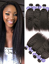 cheap -3 Bundles Indian Hair Yaki Straight Unprocessed Human Hair 100% Remy Hair Weave Bundles Natural Color Hair Weaves / Hair Bulk Extension Bundle Hair 8-28 inch Natural Human Hair Weaves Odor Free