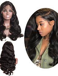 voordelige -Human Hair Capless Pruiken Echt haar Body Golf Zijdeel Stijl Feest / Dames / Beste kwaliteit Gemiddelde Lengte Kanten Voorkant Pruik Braziliaans haar Dames