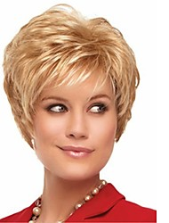 cheap -Bangs Curly Style Pixie Cut Capless Wig Golden Light golden Synthetic Hair 12 inch Women's Lustrous / Classic / Women Golden Wig Short Natural Wigs
