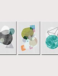 tanie -Nadruk Zwijane wydruki na płótnie - Nowoczesny Figury geometryczne i strzały Klasyczny Trzy panele