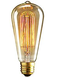 Недорогие -1шт 40 W E26 / E27 ST64 Тёплый белый 2300 k Ретро / Диммируемая / Декоративная Лампа накаливания Vintage Эдисон лампочка 220-240 V