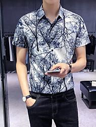Недорогие -Муж. С принтом Рубашка Геометрический принт Белый L