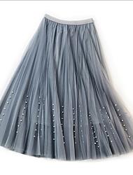 Недорогие -Жен. Тюлевая юбка / С бусинами Качеля Подол Однотонный Сетка Розовый Бежевый Серый Один размер