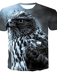 billiga -Tryck, Färgblock / 3D / Djur T-shirt Herr Grå XXXXL