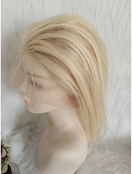 cheap -Human Hair Full Lace Wig Free Part style Malaysian Hair Natural Straight Blonde Wig 130% Density with Baby Hair Women Hot Sale Blonde Women's Short Others